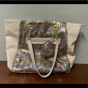 Betsey Johnson Pink Sequin Tote Bag Purse
